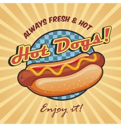 American hot dog poster template vector