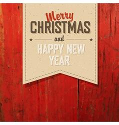 Merry christmas tag on red planks texture vector
