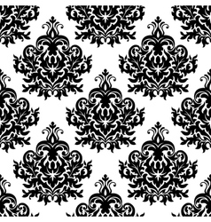 Victorian black lush flowers in damask seamless vector