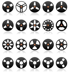 Analog stereo tape reels icon set vector