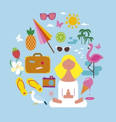 Girl on vacations round design vector