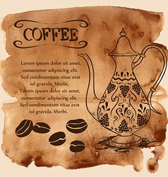 Coffee pot on a watercolor background vector