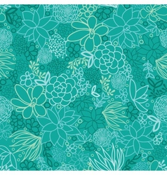 Green succulents seamless pattern background vector