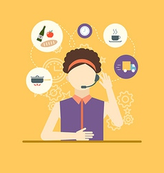 Technical support assistant woman flat design vector