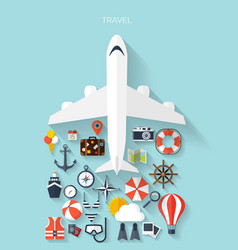 World travel concept background plane flat vector