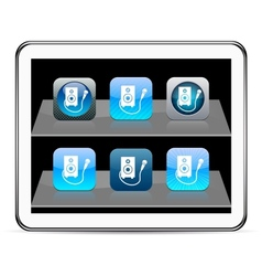 Karaoke blue app icons vector