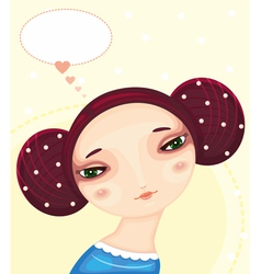 Girl face love thought vector