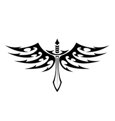 Winged sword tattoo with barbed feathers vector