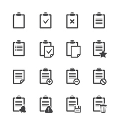 Clipboard icons over white ofice document vector