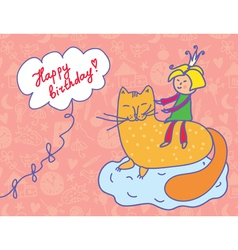 Happy birthday card with child and cat vector
