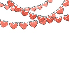 Red hand-drawn hearts buntings garlands on white vector
