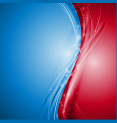 Blue and red abstract waves design vector