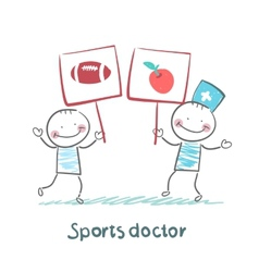 Sports doctor holds a banner with a painted apple vector