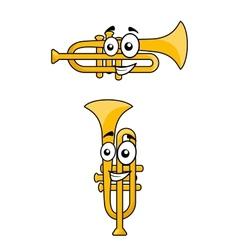 Two variations of a cartoon trumpet vector