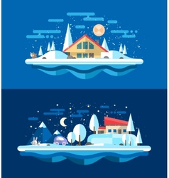 Flat design urban winter landscape compositions vector