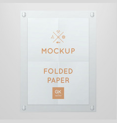 Template of folded poster in glass frame vector