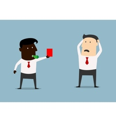 African american boss showing red card to manager vector