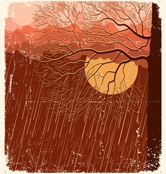 Raining nature landscape with tree in evening back vector
