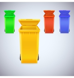 Colored waste bins with the lid open vector