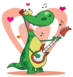 Romantic guitarist dinosaur singing vector