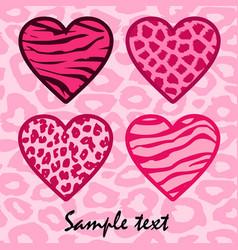Pink animal print hearts vector