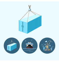 Set icons with container dry cargo ship crane vector