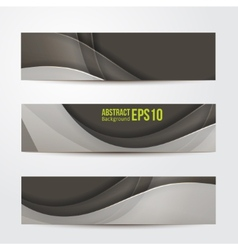 Set of abstract banners gray three background vector