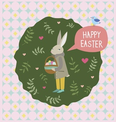Happy easter print with rabbit and blue bird vector