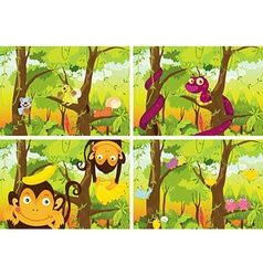Jungle and animals vector