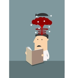 Businessman with brain explosion in head vector