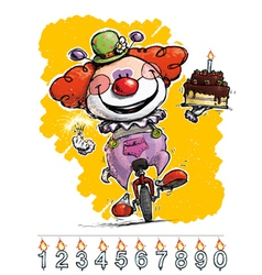 Clown on unicle carrying a birthday cake vector