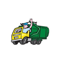Garbage truck driver waving cartoon vector