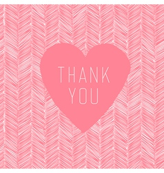 Pink thank you card handdrawn vector