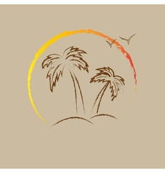 Palm tree contours vector