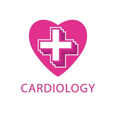 Heart and cross logo cardiology icon vector