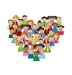 Heart of children and teenagers vector