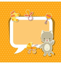 Background photo frame with little cute baby cat vector