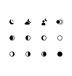 Moon phases icons on white background vector