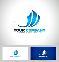 Blue swash logo design vector