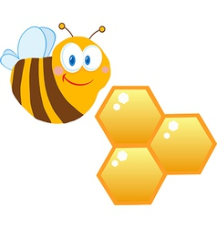 Friendly bee and honeycombs vector