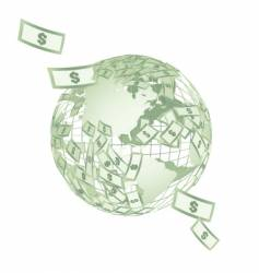 World map globe with dollars vector