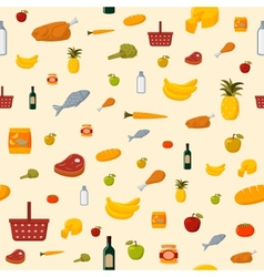 Supermarket food items seamless background vector
