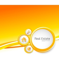 Real estate orange brochure with circles vector