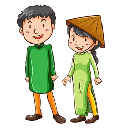 Two asian people vector