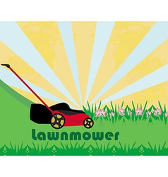 Lawn mower with grass - abstract card vector