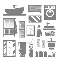 Bathroom furniture icons vector