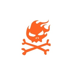 Fire skull and bones vector