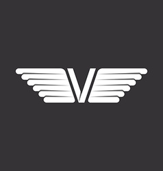V - letter with wings black and white background vector