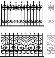 Wrought iron modular railings and fences vector