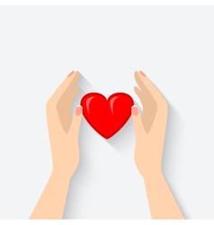 Heart in hands symbol vector